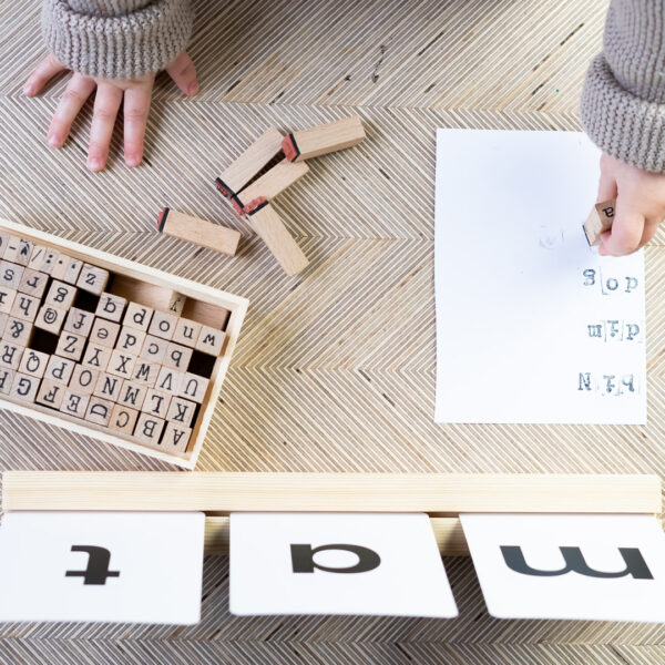 Phonics flashcards simple first words using letter stamps