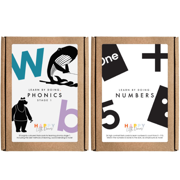 Numbers and Phonics Flashcards by Happy Little Doers